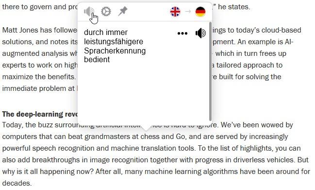Mate Translate Dialogbox mit Übersetzung